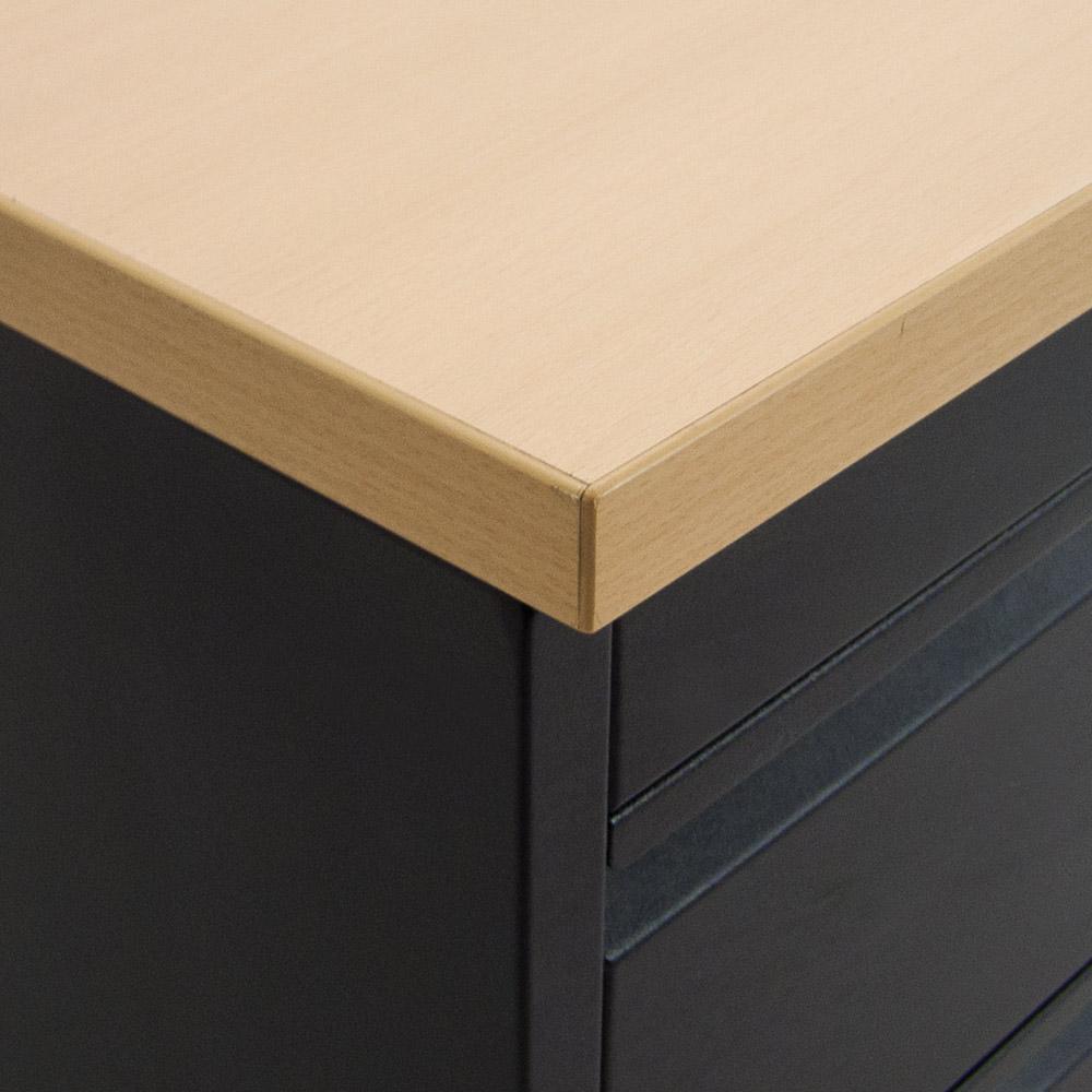 Gebruikt zwart ladeblok met lichtbeuken topblad met hangmappenlade Officetopper