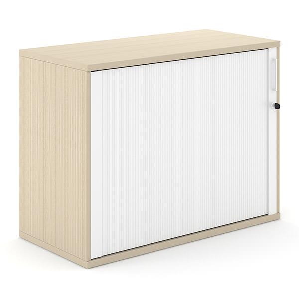 Licht eiken houten roldeurkast 100cm breed met witte roldeur Officetopper.com Effektiv