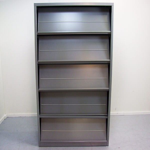 Brochurekast, Folderkast, aluminium, tweedehands, Officetopper, gebruikt kantoormeubilair