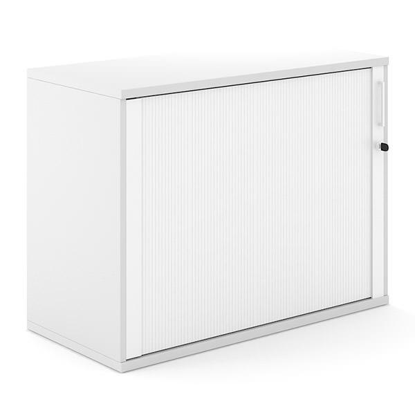 Witte houten roldeurkast 100cm breed met witte roldeur Officetopper archiefkasten Effektiv