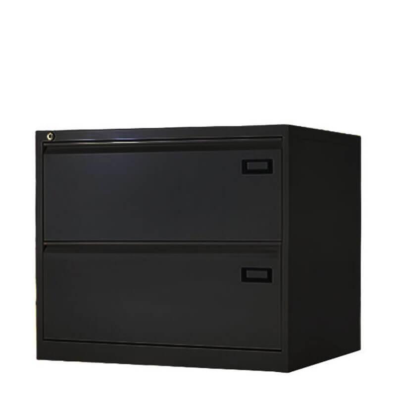 Dubbele zwarte dossierladenkast laag Officetopper
