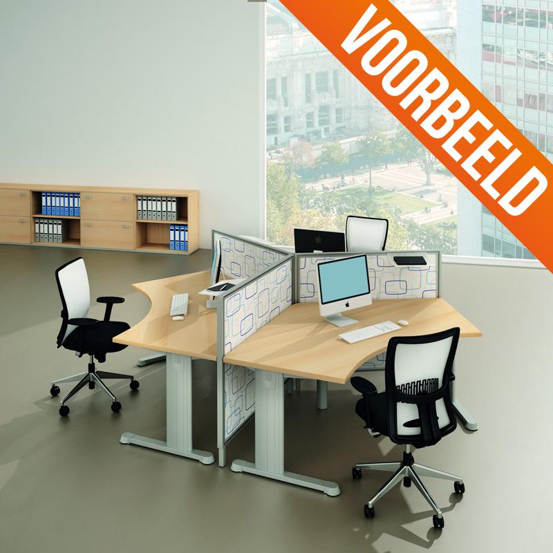 Gebruikt hoekbureau ahorn Officetopper gebruikt tweedehands kantoormeubilair
