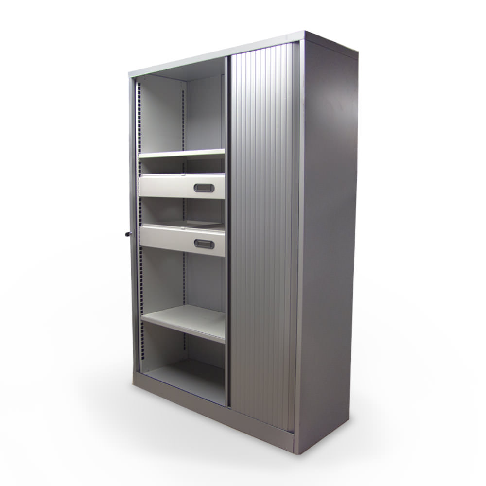 Gebruikte Robberechts aluminium roldeurkast met 1 roldeur Officetopper