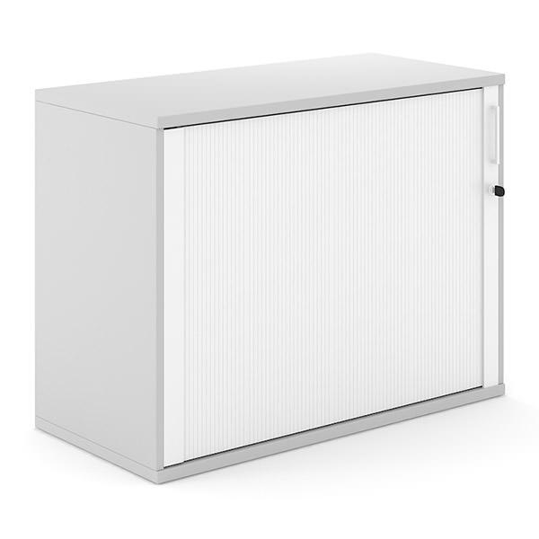 Lichtgrijze roldeurkast met witte roldeur 100cm breed Officetopper kantoorkasten Effektiv