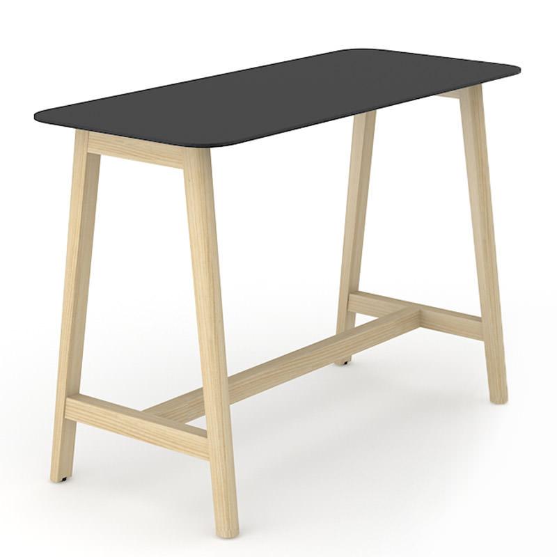 Houten sta tafel met zwart HPL blad
