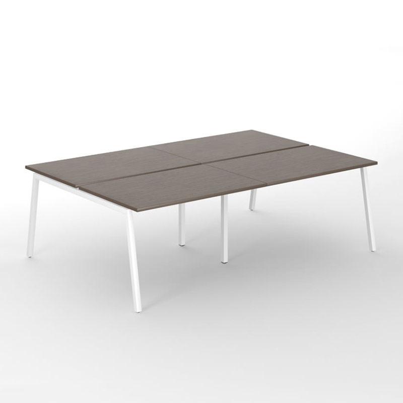 4-desk bench Nova A met wit onderstel en walnoot blad Officetopper