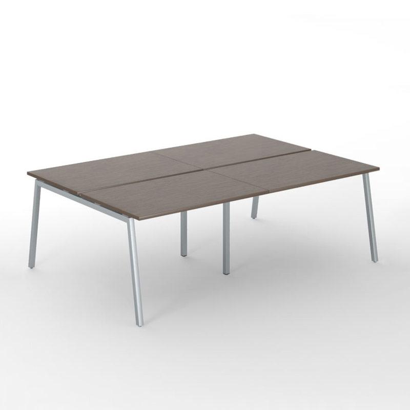 4-desk bench met aluminium onderstel Nova A Officetopper
