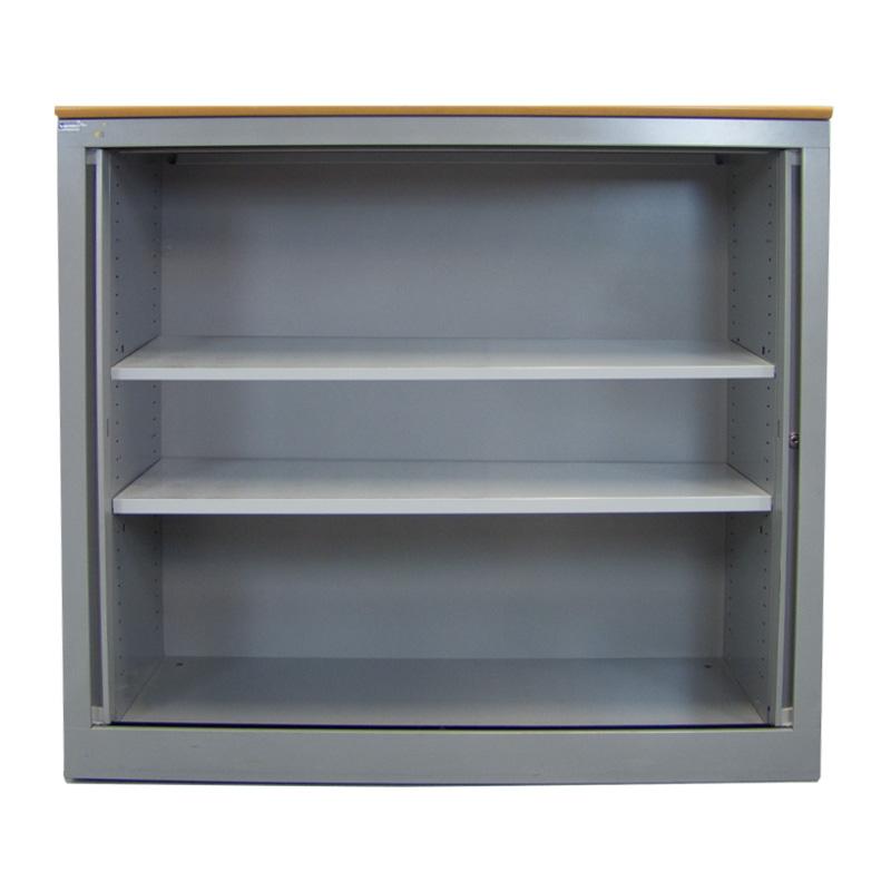 Roldeurkast Markant met beuken topblad en aluminium ombouw Officetopper tweedehands roldeurkasten