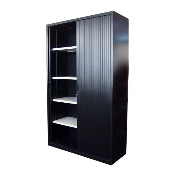 Gebruikte zwarte hoge roldeurkast Officetopper.com tweedehands roldeurkasten