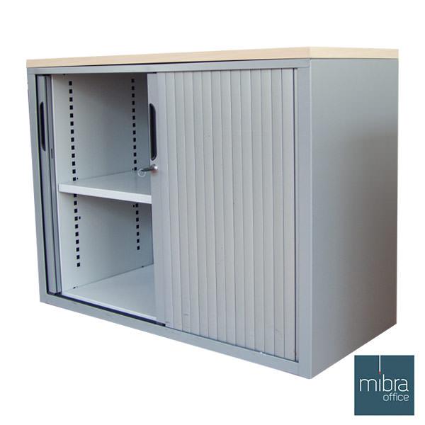 Gebruikte lage, aluminium Mibra roldeurkast met ahorn topblad Mibra kantoorkasten