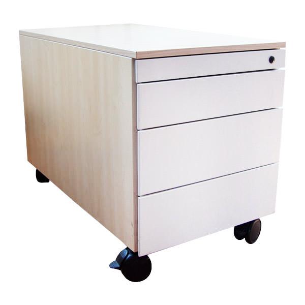 Gebruikt verrijdbaar ladeblok met ahorn ombouw en wit front Officetopper