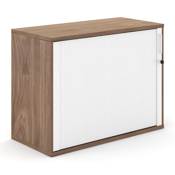 Walnoot-kleurige houten roldeurkast 100cm breed met witte roldeur Officetopper kantoormeubilair Effektiv