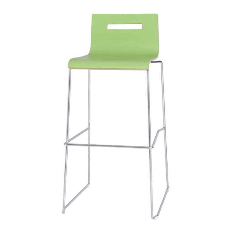 Groene zitting kruk oscar met slede frame Huislijn