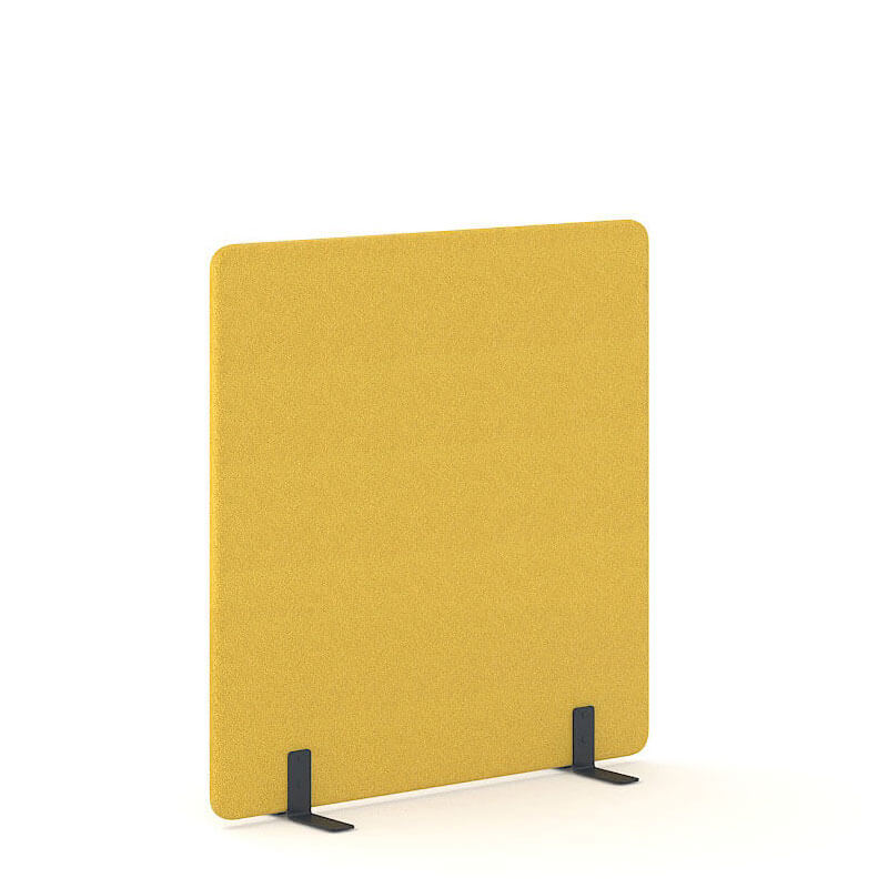 140cm hoge gele akoestische scheidingswand vrijstaand Officetopper