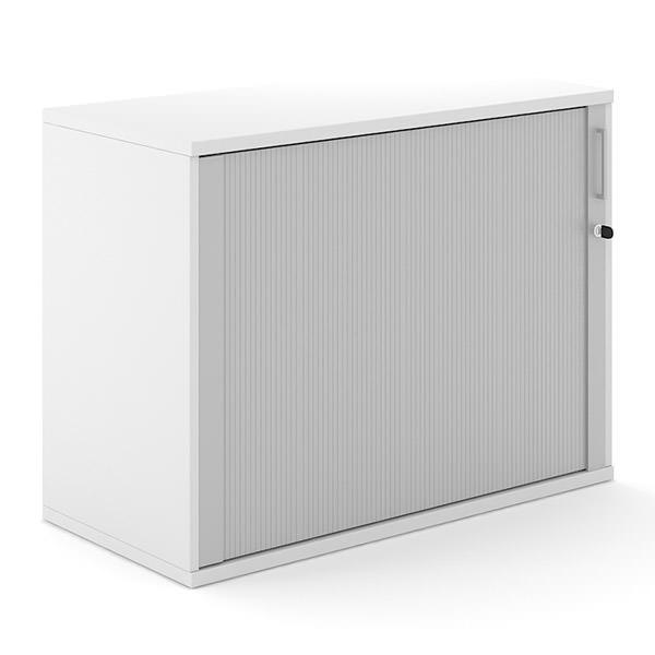 Witte houten roldeurkast 100cm breed  met aluminium roldeur Officetopper Effektiv