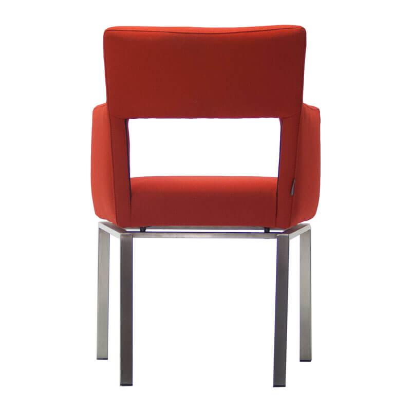 86004-Gebruikte-fauteuil-Foucault-FLoor-rood-met-onderstel