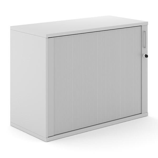 Lichtgrijze roldeurkast 100cm breed  van hout met aluminium roldeur Officetopper.com Effektiv