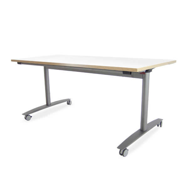 Verrijdbare klaptafel Ceka, met wit blad en aluminium onderstel inclusief stekkerdoos en kabelklemmen Officetopper kantoormeubelen