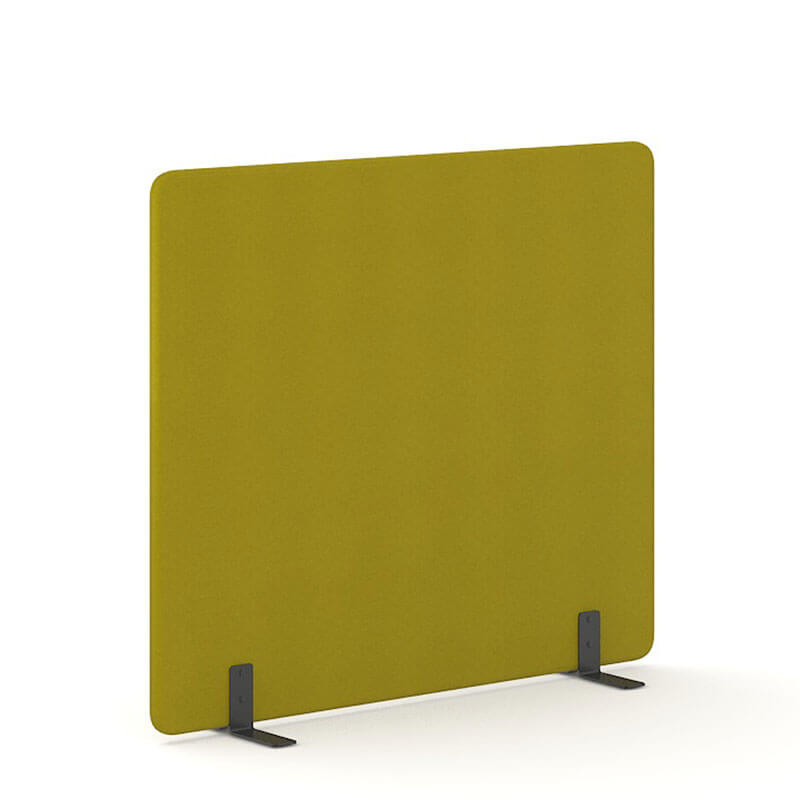Mosterdkleurige 160cm hoge staande scheidingswand Officetopper