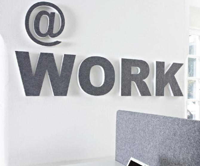 Akoestische muur letters Officetopper akoestiek oplossingen