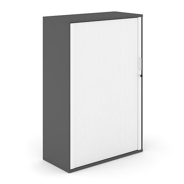 Antraciet roldeurkast van hout met witte roldeur hoog Officetopper roldeurkasten Effektiv