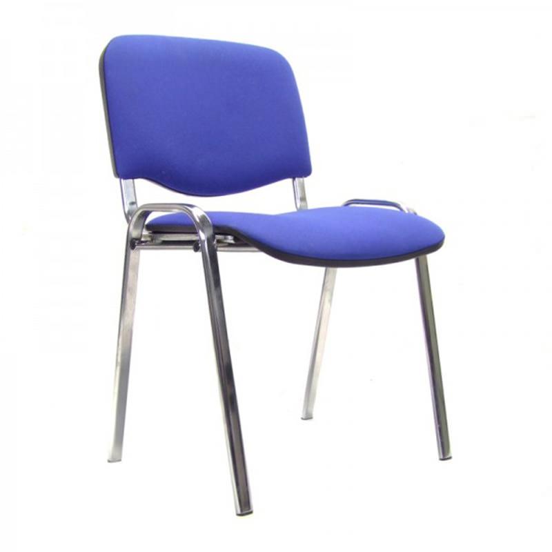 Vergaderstoel Iso met blauwe stoffering en chroom onderstel Officetopper nieuw kantoormeubilair