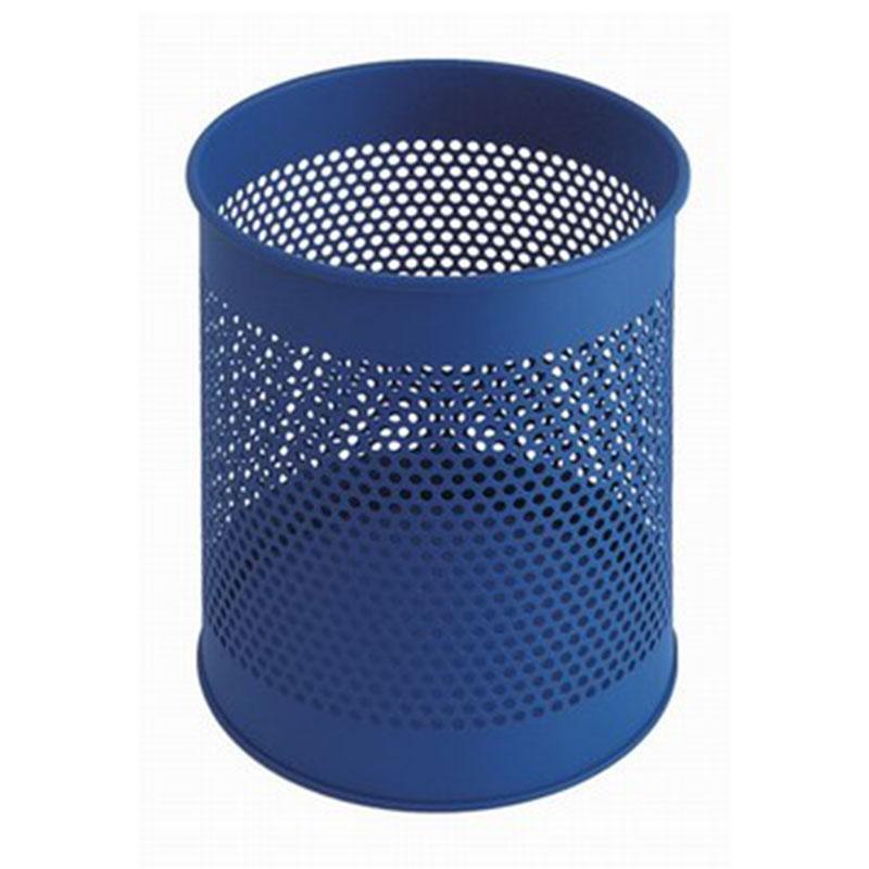 Blauwe volledig perforeerde prullenbak