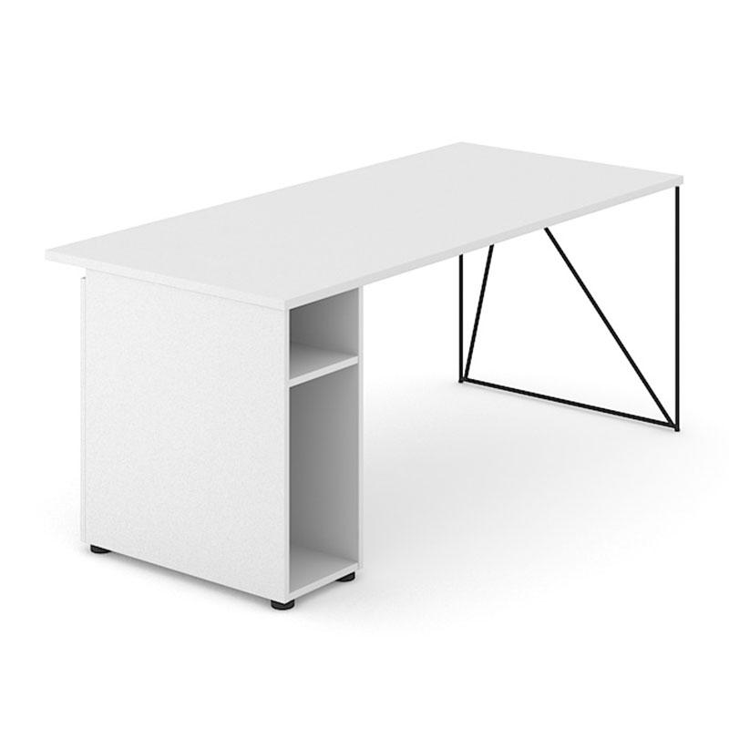 Wit bureau met kast en zwart onderstel Officetopper