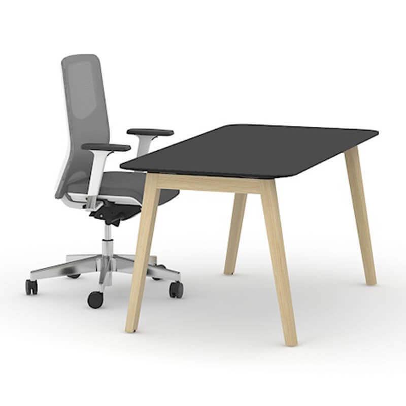 Bureau Nova Wood zwart HPL - Bureau met houten onderstel