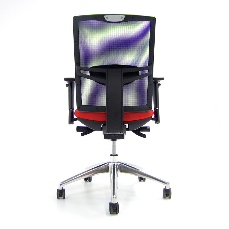 Bureaustoel-O.T. 02 netbespannen rug rode zitting Officetopper tweedehands bureaustoel (1)