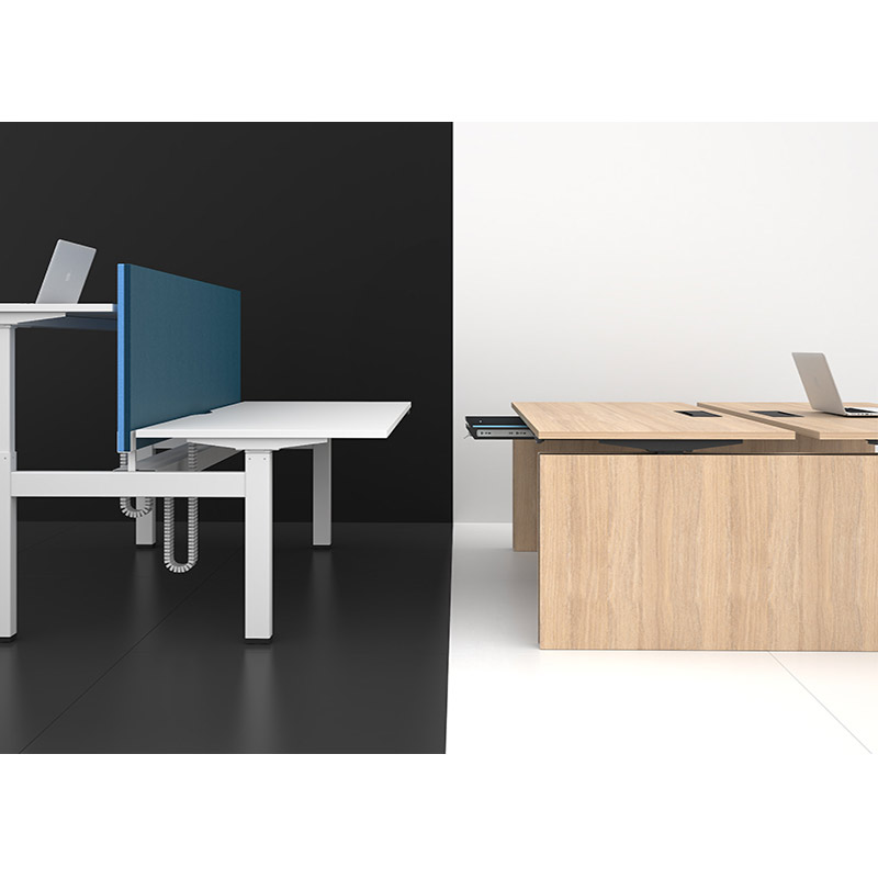 De motion duo-en-bench-zit-sta-bureaus van Officetopper