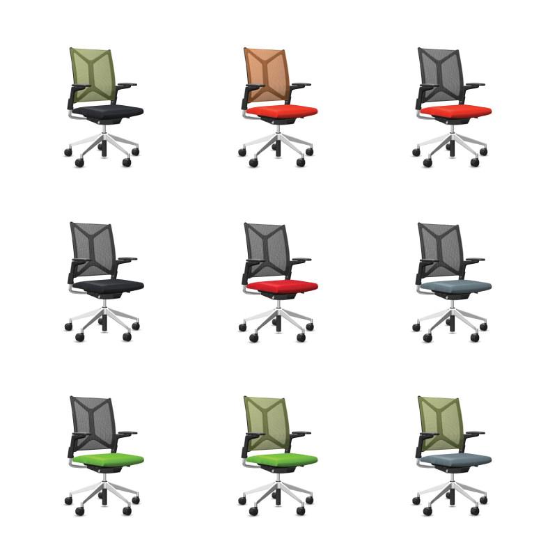 Diverse kleurstellingen Bureaustoel Girsberger Camiro Officetopper
