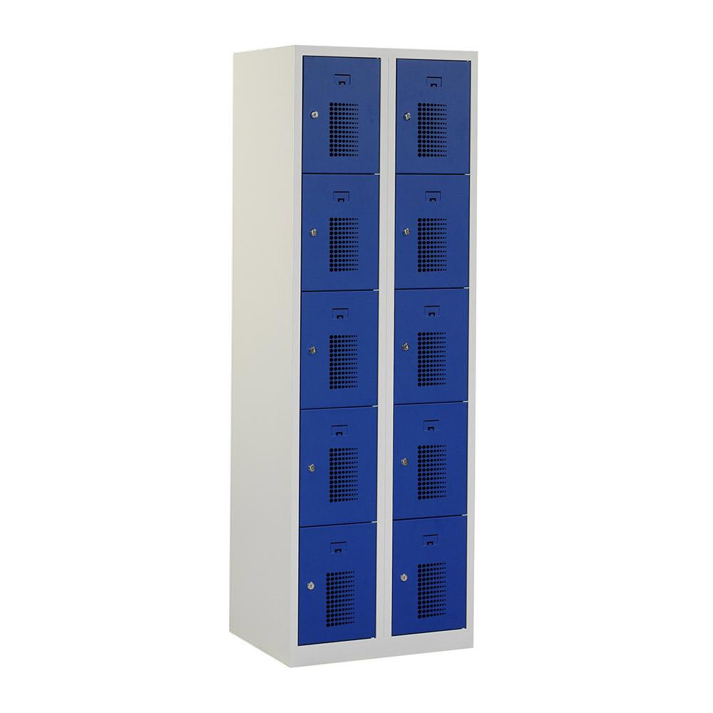 Grijze-locker-2-kolommen---10-blauwe-deuren-geperforeerd-Officetopper