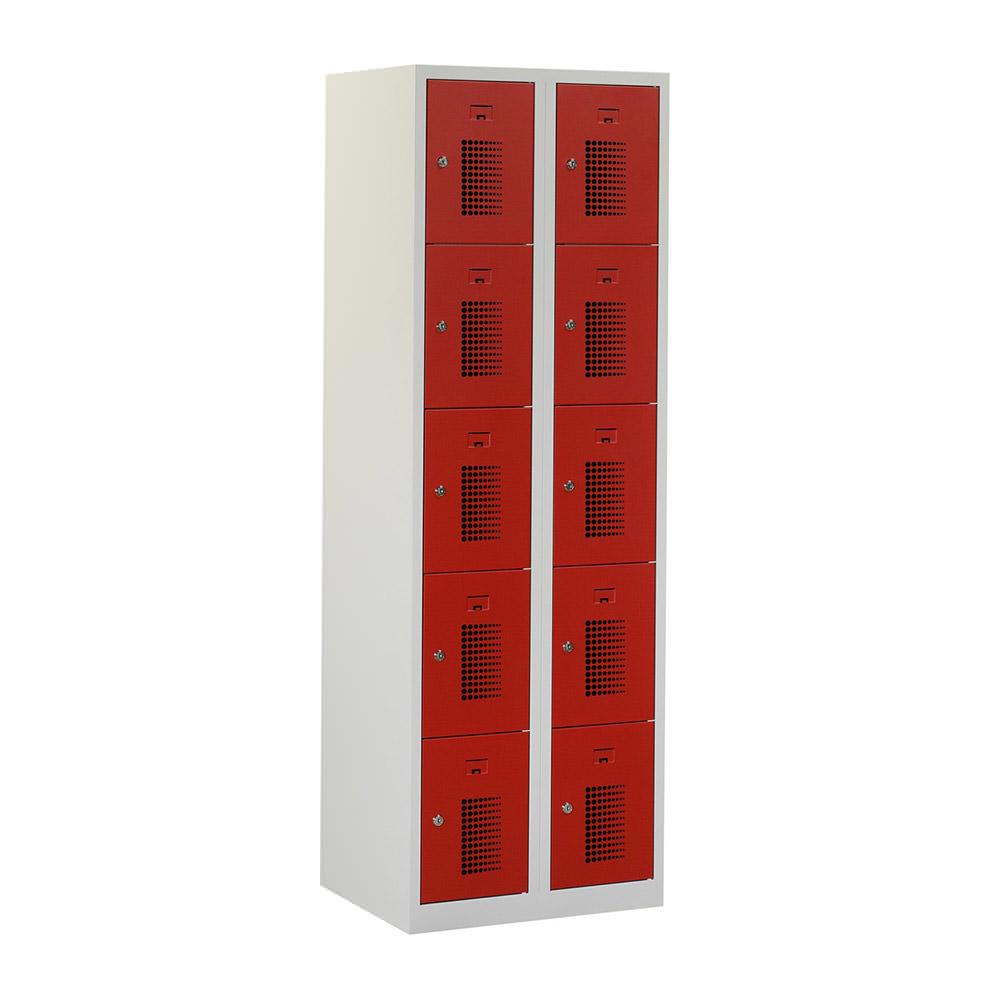 Grijze-locker-2-kolommen---10-geperforeerde-rode-deuren-Officetopper