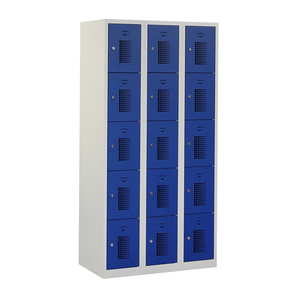grijze-locker-3-kolommen-12-blauwe-geperforeerde-deuren-Officetopper