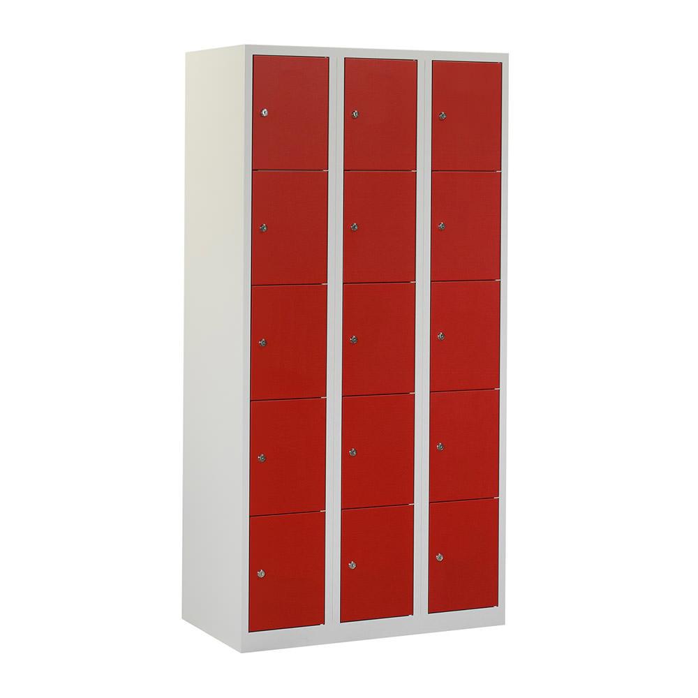 grijze-locker-met-3-kolommen---12-rode-geperforeerde-deuren