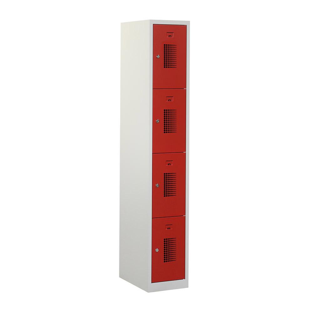 Grijze Locker 1 kolom - 4 geperforeerde rode deuren Officetopper