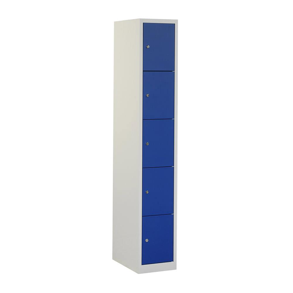 Grijze locker met 5 blauwe deuren Officetopper