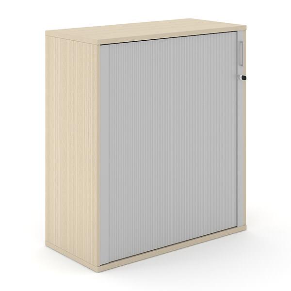 houten licht eiken roldeurkast 114cm hoog met aluminium roldeur Officetopper.com Effektiv