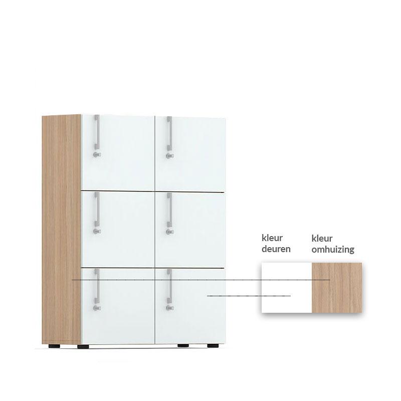 Kleurcode van houten lockerkast Officetopper