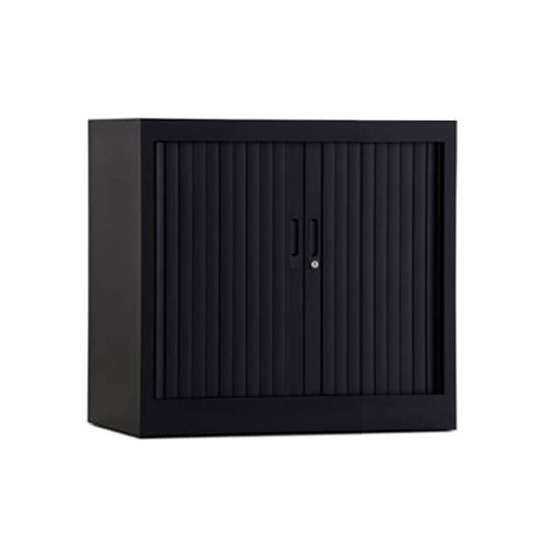 lage zwarte roldeurkast 80cm breed Officetopper