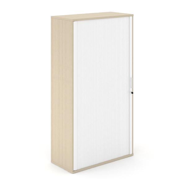 Licht eiken houten roldeurkast met witte roldeur Officetopper.com Effektiv