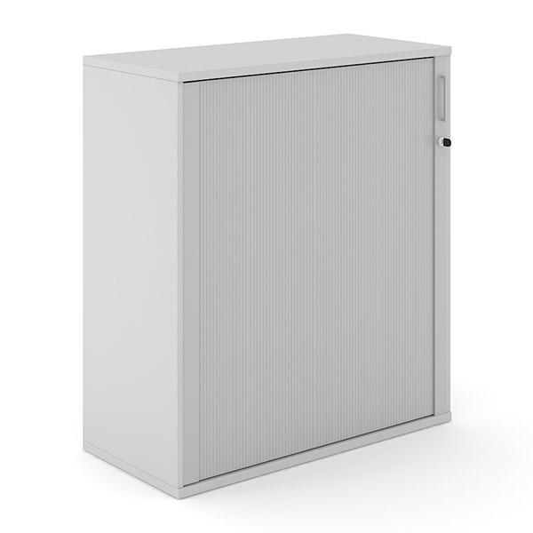 Lichtgrijze roldeurkast 114cm hoog van hout met aluminium roldeur Officetopper.com Effektiv