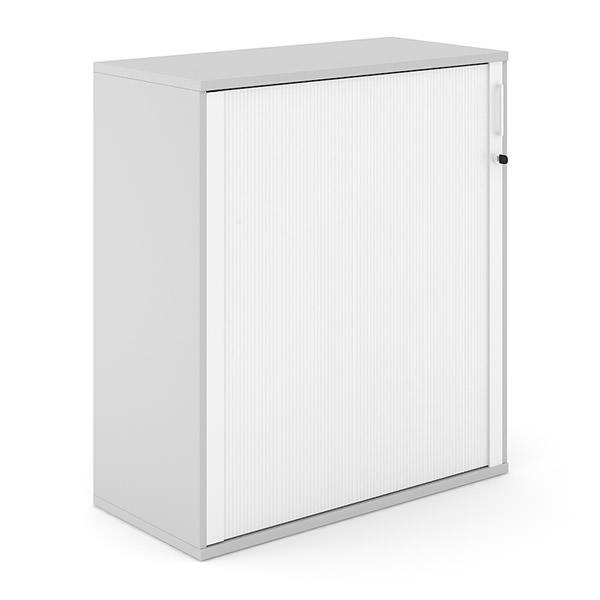 Lichtgrijze roldeurkast met witte roldeur 114cm hoog Officetopper kantoorkasten Effektiv