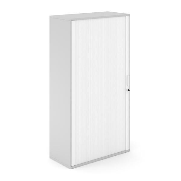 Lichtgrijze roldeurkast met witte roldeur  Officetopper kantoorkasten Effektiv