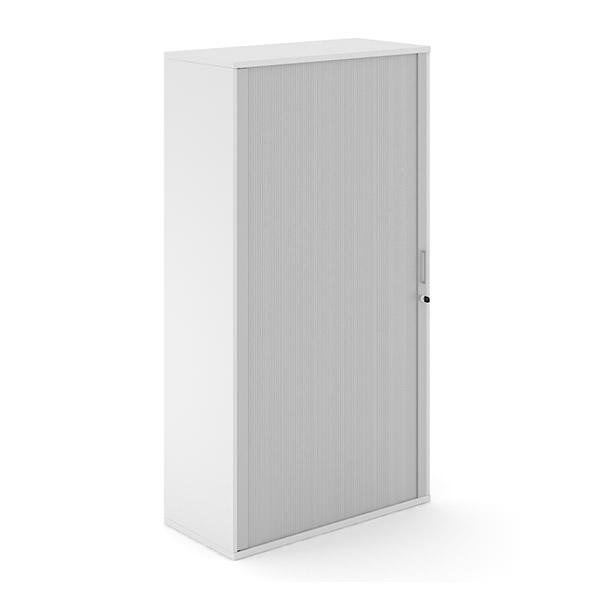 Lichtgrijze roldeurkast van hout met aluminium roldeur Officetopper.com Effektiv