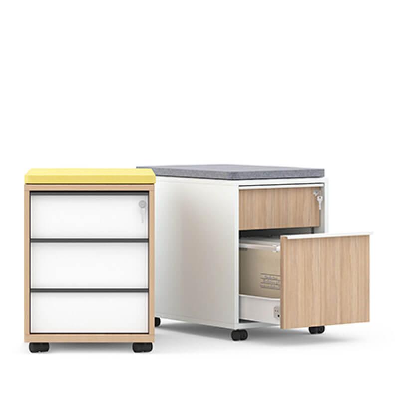 Houten ladenblok met 3 lades en kussen officetopper kantoormeubelen