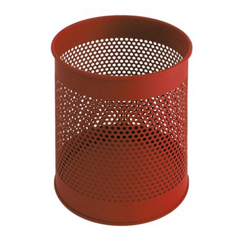 Rode volledig perforeerde prullenbak