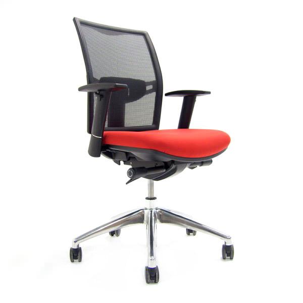 Rood met zwarte bureaustoel O.t.2 Officetopper tweedehands bureaustoel