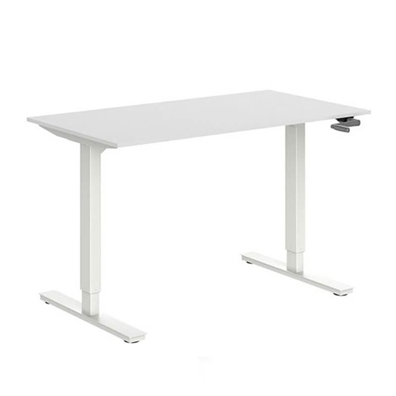 Slingerversetlbaar bureau wit blad en wit onderstel Officetopper